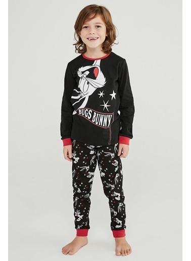 Penti Erkek Çocuk Siyah Bugs Bunny 2'li Pijama Takım PN22D2C820SK Siyah